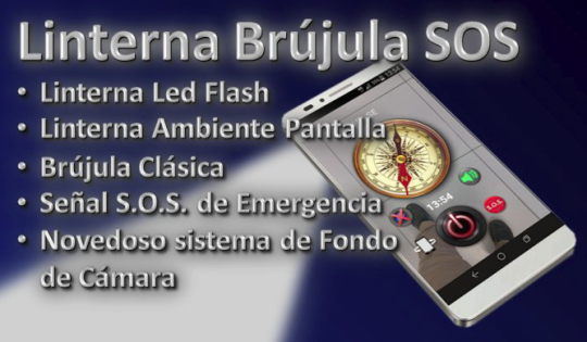 Linterna Brújula SOS (con NOVEDOSO fondo de Cámara)
